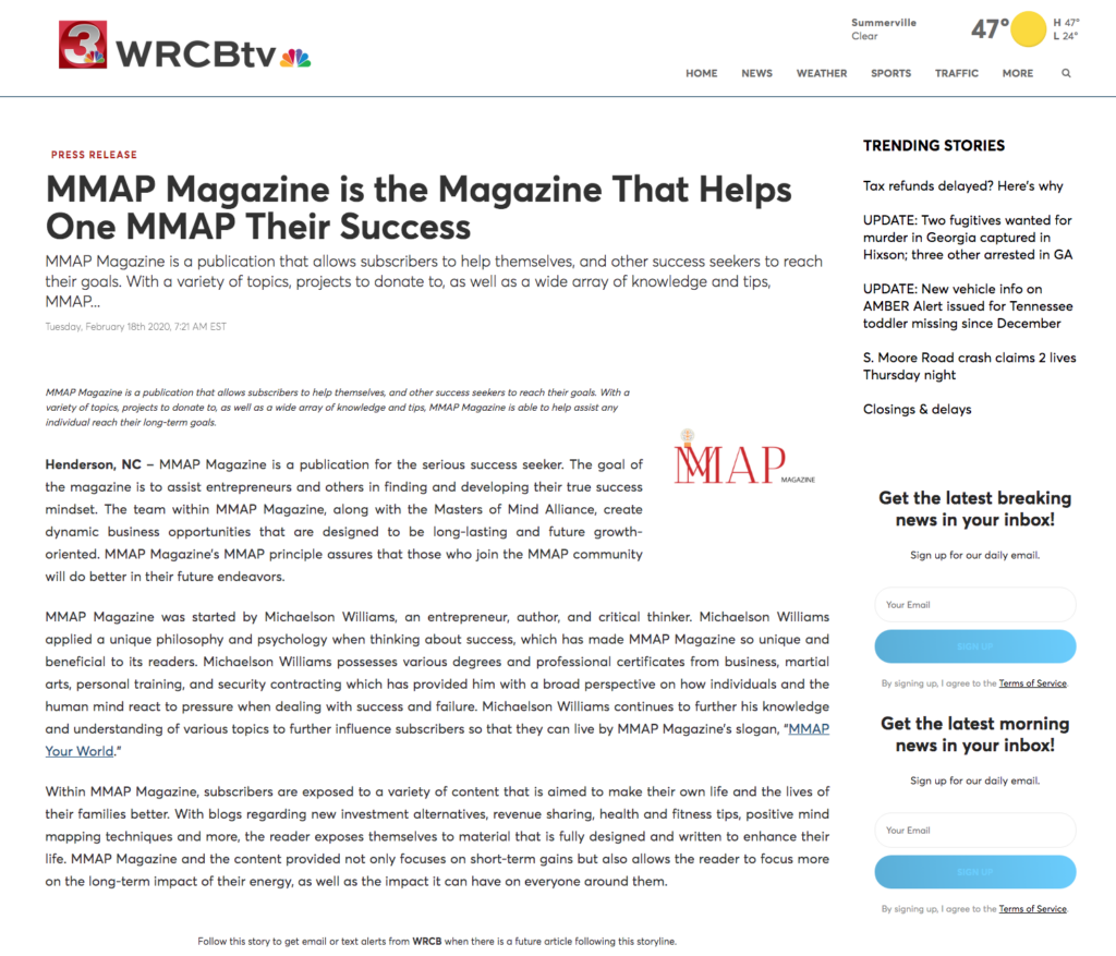 MMAP Magazine press channel 3 WRCB tv