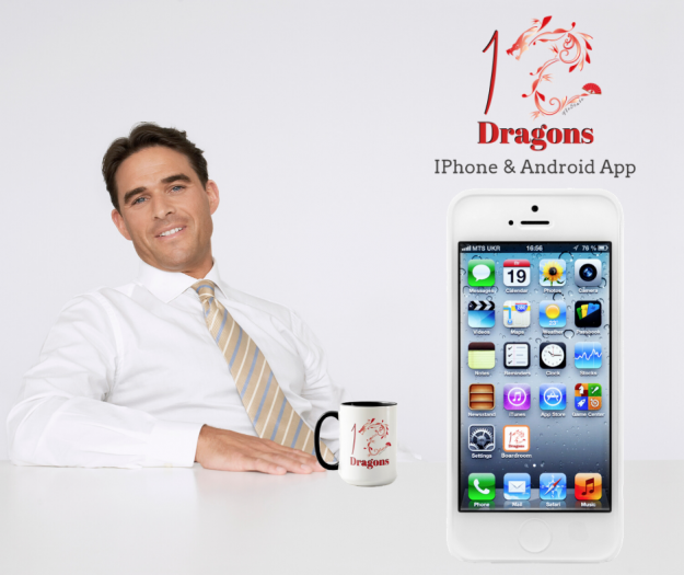 Man sitting in 12 Dragons Boardroom with coffee and phone